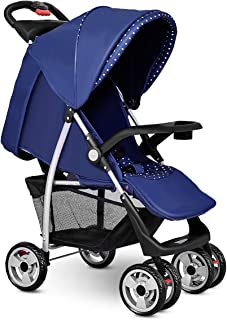 Costzon Baby Stroller, Foldable Infant Pushchair with 5-Point Safety Harness, Multi-Position Reclining Seat, Parent and Child Tray, Large Storage Basket, Suspension Wheels, Blue