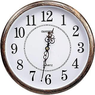 ufengke Vintage Bronze Color Silent Quartz Clocks Large Number Round Wall Clock for Living Room Bedrooms Kitchen Lounge 12