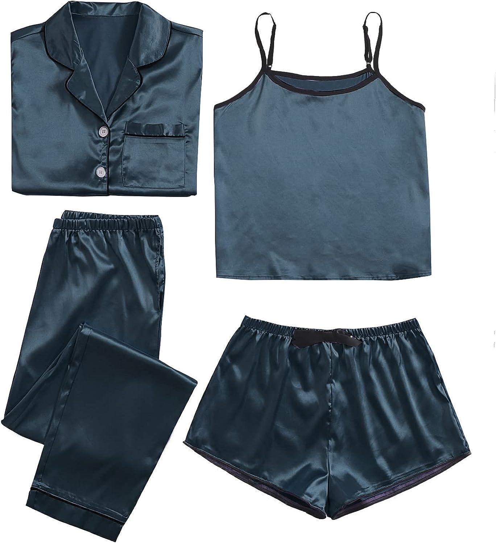 WDIRARA Women's Sleepwear Challenge the lowest price of favorite Japan 4pcs Satin Pajama with Set Cami Shirt