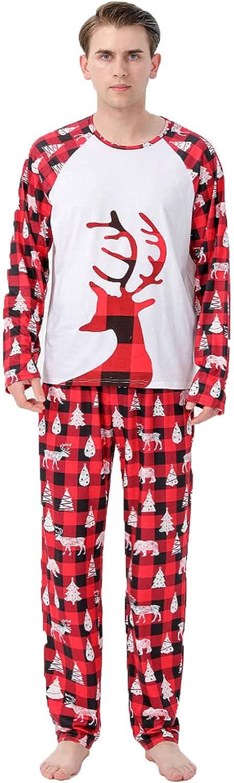 Christmas Family Pajamas Matching Sets Elk Print Sleepwear with Plaid Pants Holiday Loungewear Pyjamas Clothes Outfits