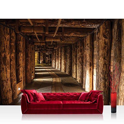 Vlies Fototapete 312x219cm PREMIUM PLUS Wand Foto Tapete Wand Bild Vliestapete - Berge Tapete Holzstämme Holzwand Bergwerk Stollen Tunnel Licht braun - no. 2847