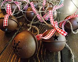 Jingle Bell Garland for Primitive Country Rustic Farmhouse Christmas Decor, Mantle Decorations, Red Gingham Buffalo Check Ribbon Optional, Handmade, 12 Feet