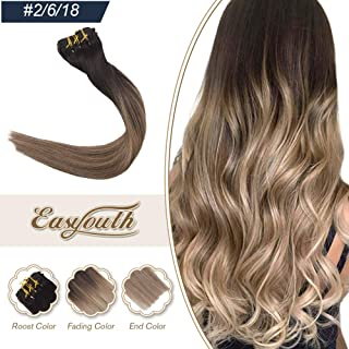 Easyouth 22inch Clip in Balayage Hair Extensions Real Human Hair Ombre Color 2 Fading to 6 Highlights with 18 120g 7Pcs Full Set Silky Straight Hair Remy Clip in Hair Extensions