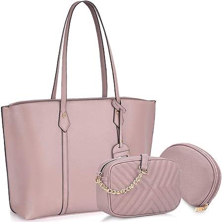 Bolso para Mujer Cuero PU Bolso de hombro Monedero 3Pcs Bolso Grande Bolso Señoras Shopper Totes para Escuela Compras ViajeOficina Rosa