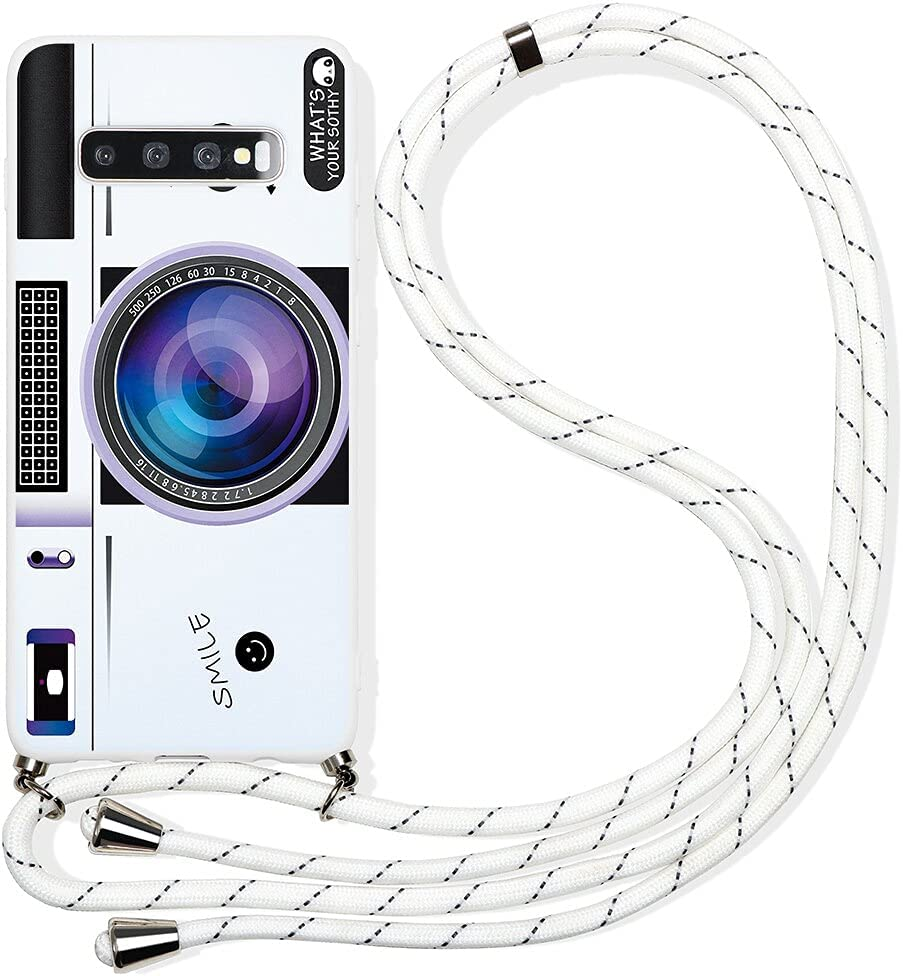 Pnakqil Compatible with Samsung Galaxy A10 Case 6.2 inch, Crossbody Adjustable Necklace Lanyard with Fashion Pattern Design Soft White TPU Shockproof Protective Case for Samsung A10, Camera