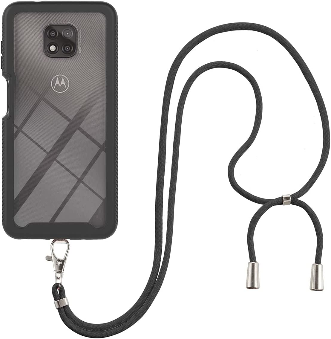 Moto G Power (2021) Case, Gift_Source Slim Shockproof Crossbody Case 2 in 1 Soft Silicone Bumper & Clear Hard PC Back Cover Shell with Lanyard Neck Strap for Motorola Moto G Power (2021) 6.6
