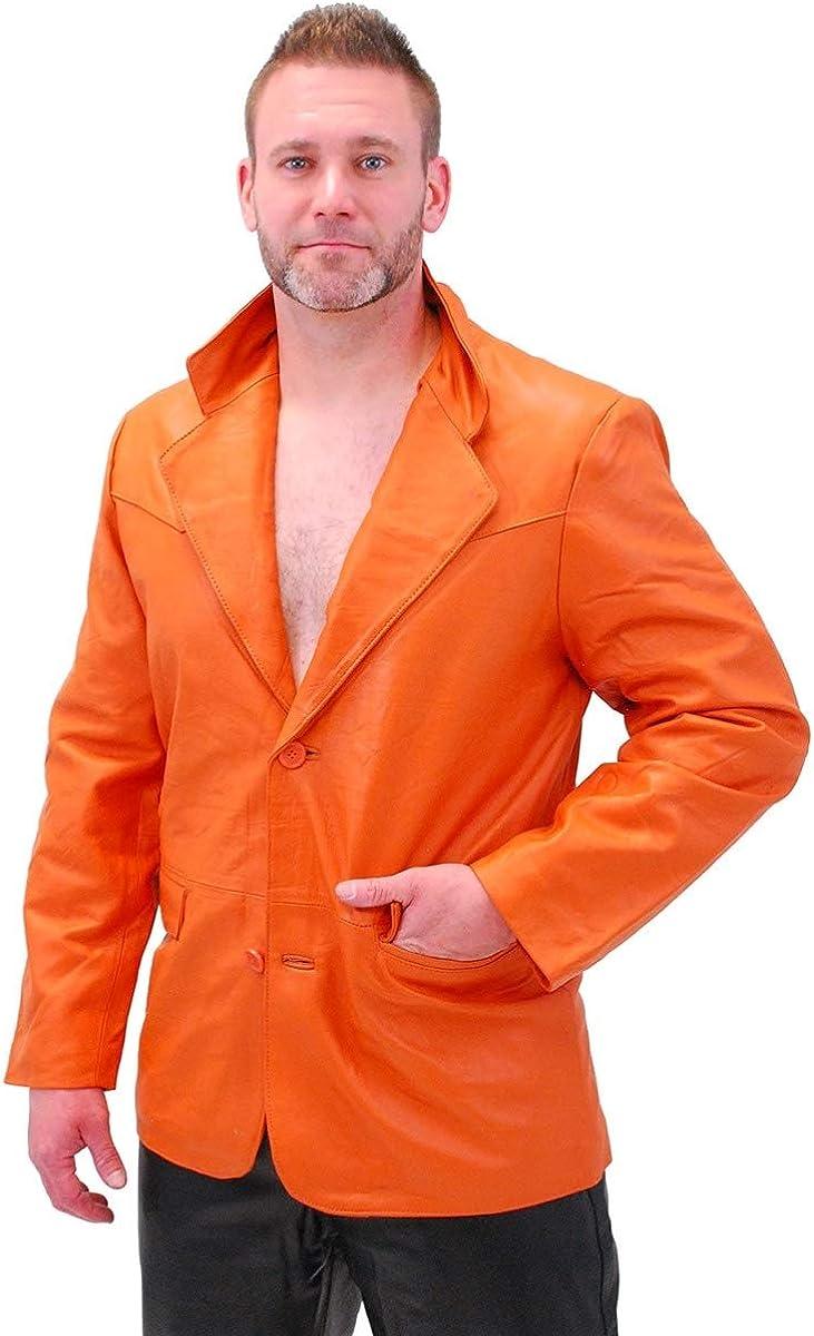 Jamin' Be In stock super welcome Leather - Mango Orange Button Lambskin Blazer Two