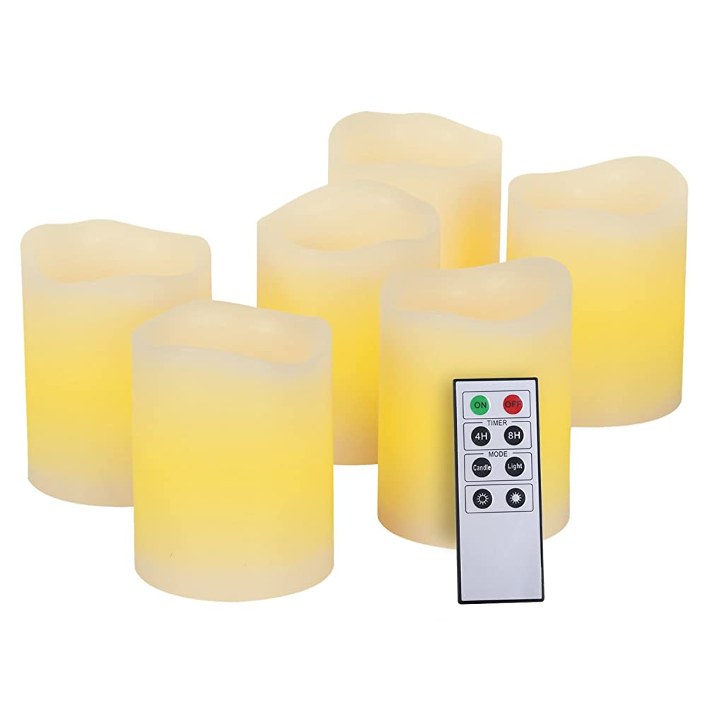 サルベージいつも鈍いKohree 本物の蝋で LEDキャンドルライト リモコン付き 無火炎タイマー機能 電池式 (6)