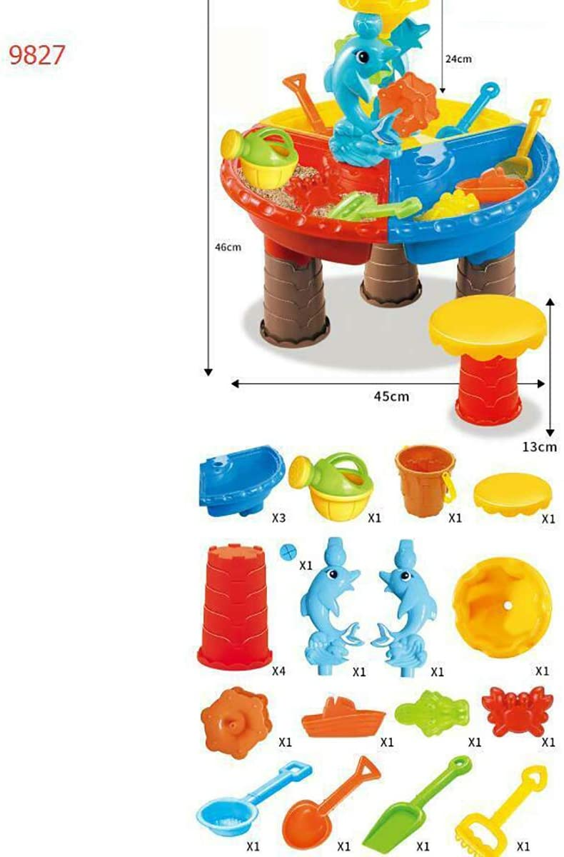 Children Educational Toy Sand and Water Table Shovel Spade Watering Can Various Hand Tools Sandbox Toys for Toddlers Kids Outdoor Beach Garden Sandpit Toys Set Sand Water Play Table