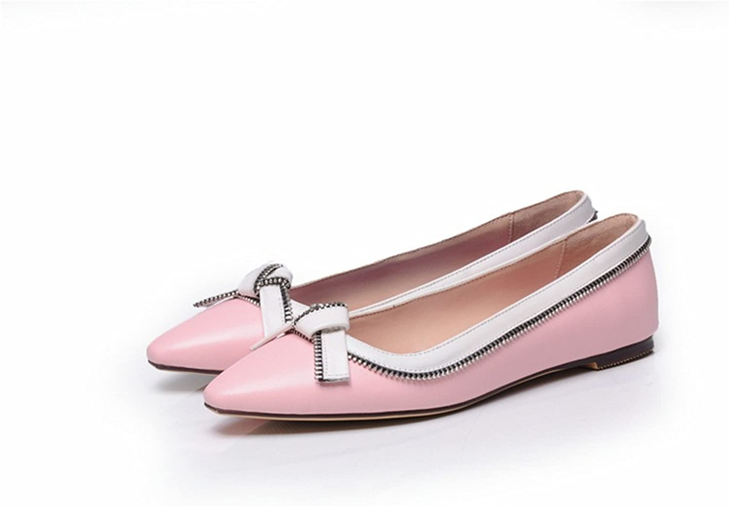 Spyman Fashion Cow Leather Zip Butterfly-Knot Pointed Toe Slip-On Outside Leisure Spring Two colors Women Flat shoes