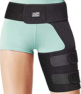 Hip Groin Stabilizer & Hip Brace - Support Wrap for Sciatica Pain Relief, Hip Arthritis, Pulled Muscles, Thigh Hamstring Quadriceps Injuries, SI Belt Neoprene Adjustable Compression Brace Men Women