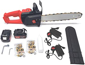 21V Electric Cordless Chainsaw Wood Cutting Chain Saw Garden Tree Shear with 3 Chains 2 Rechargeable Batteries and Charger