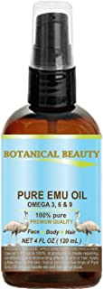 100% PURE EMU OIL. PREMIUM for FACE, BODY, HANDS, FEET, NAILS & HAIR and LIP CARE. (4 Fl. oz. - 120 ml.)