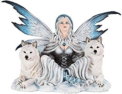 StealStreet SS-G-91896, Large Scale Snow Goddess Fairy with Two Wolves Mystical Figurine
