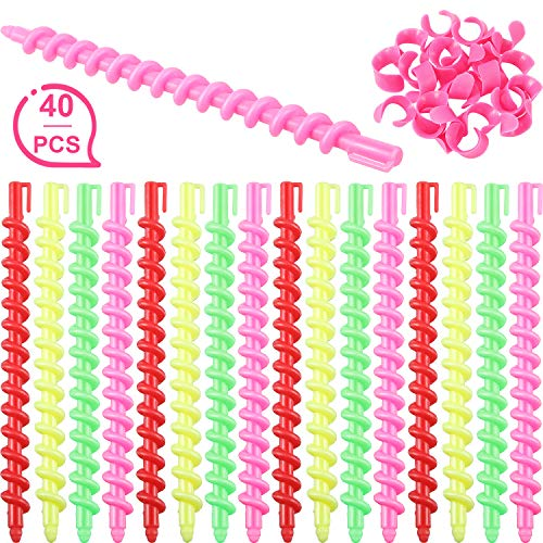 40 Pieces Plastic Spiral Hair Perm Rod Spiral Rod Barber Hairdressing Hair Rollers Salon Tools for...
