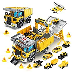 1.Truck Toy Set: Contains a large transport vehicle, 8 small engineering vehicles, 1 helicopter and 2 roadblocks. 2.Interesting scene simulation: transporter truck with parking spaces, height-limiting doors, and take-off and landing points can be tra...