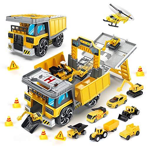 BeebeeRun 11 in 1 Camión Coches de Juguete para ninos,Transportador Coches Juguete con Vehículo de ingeniería,Regalo para niños niñas de 4 a 7 años