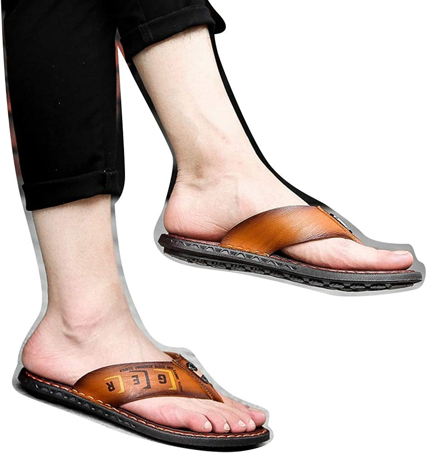 Men's Anti-Skid Flip Flops Summer Slippers Men's Leather Breathable Casual shoes (color   217yellow Brown, Size   41)