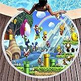 AMZJIEFU Toalla de Playa Redonda Super Mario con Flecos Toalla de Viaje de Verano para niños Microfibra Estera de Picnic de Yoga Toalla de baño para Adultos