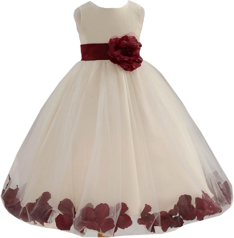 Ivory Tulle Rose Floral Petals Flower Girl Dress Girls Party Dresses 302S