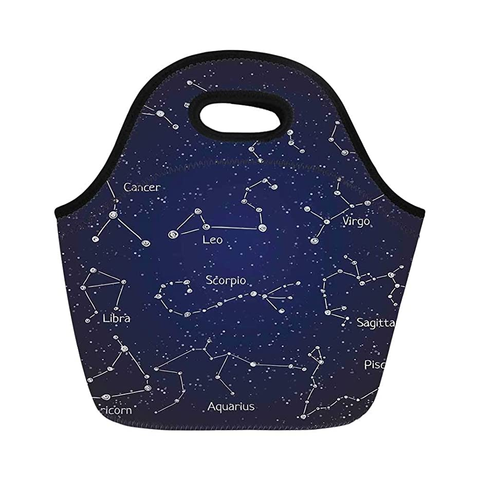 Constellation Durable Lunch Bag,Doodle Chalk Written Like Set of Zodiac Clusters and Sign Names for School Office,11.0