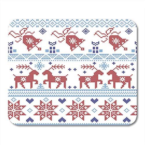 Mausmattenpad, dunkel- und hellblaue und rote nordische Weihnachtskreuzstiche einschließlich rutschfester Mauspads mit Rentier-Schneeflockenstern-Weihnachtsbaum für das Desktop-Leben,25x30cm