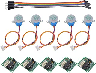 MybotOnline 5 Sets 28BYJ-48 ULN2003 5V Stepper Motor Kit ULN2003 Driver Board Compatible Arduino Breadboard Jump Wire 10 Pin Male to Female