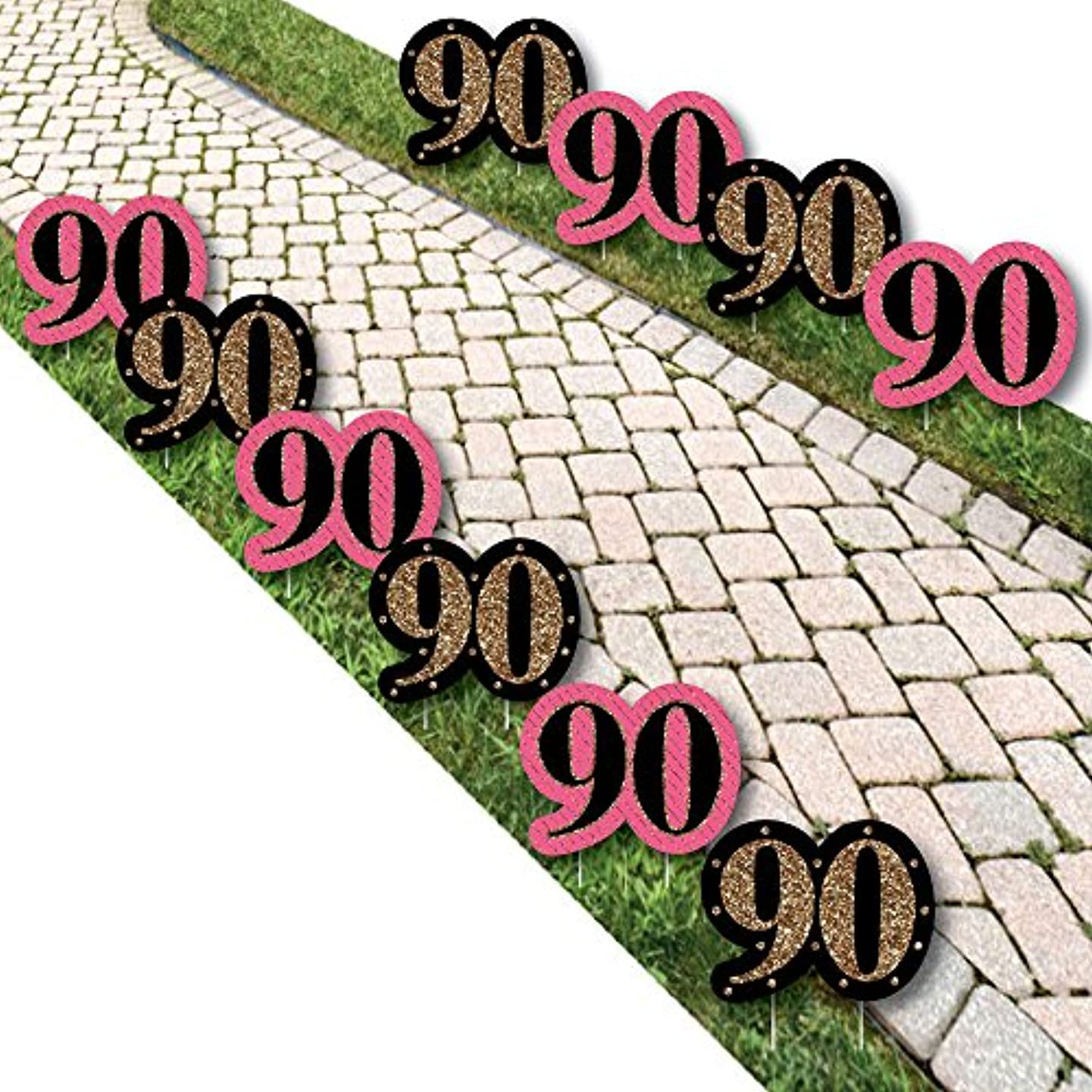 Chic 90th Birthday - Pink, Black and Gold Lawn Decorations - Outdoor Birthday Party Yard Decorations - 10 Piece