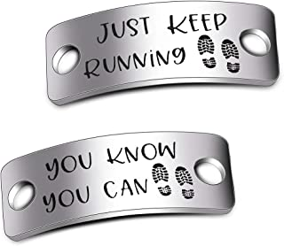 WUSUANED Shoe Tags Just Keep Running You Know You Can Trainer Tags Inspirational Gift for Runners