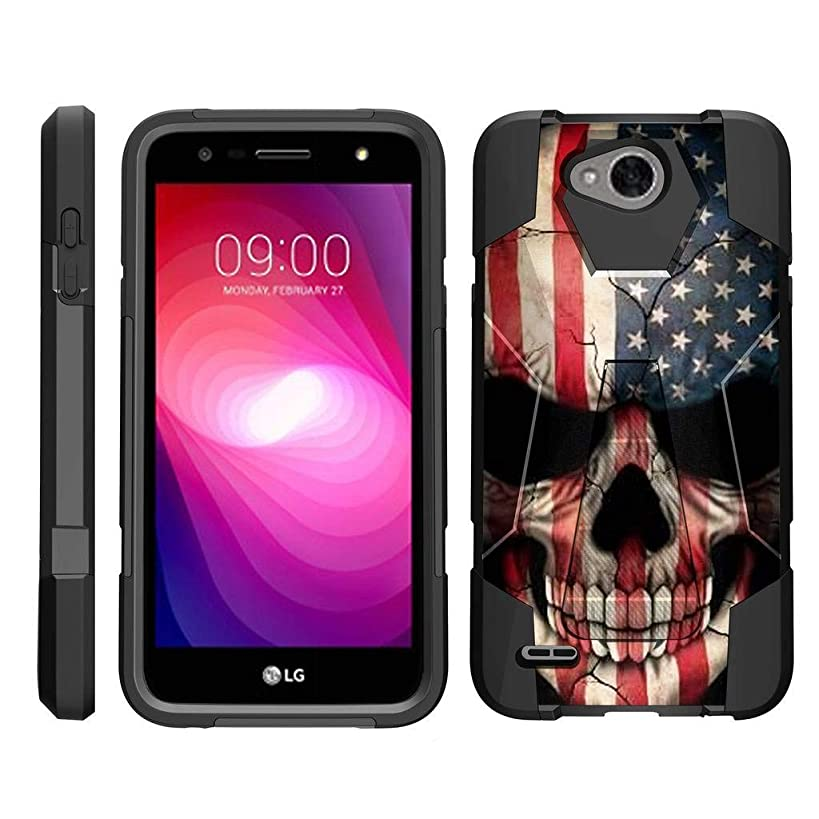 TurtleArmor | Compatible for LG X Power 2 Case | LG Fiesta 2 Case | LG X Charge Case [Dynamic Shell] Hybrid Dual Layer Hard Shell Kickstand Silicone Case - US Flag Skull