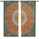 Orange étoile éléphant murale à suspendre Rideau Lot de 2 panneaux, Mandala Vitrage Paire 82 Longueur Lot de 2, Mandala fenêtre Porte Coque