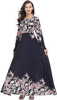QueenMM 🍀 Women's Elegant Long Sleeve Empire Waist Maxi Dress Floral Pleated Casual Muslim Dress Evening Dress