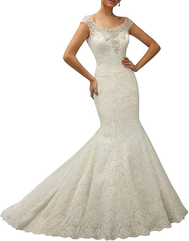 Engerla Women's Scoop Cap Sleeve Beaded Lace Mermaid Trailing Wedding Dress