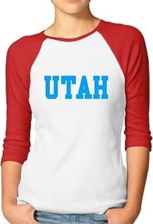 Woman's 3/4 Sleeve Raglan Utah Activewear Baseball Tees Black