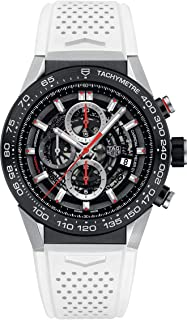 TAG Heuer Carrera Black Skeleton Dial with White Rubber Strap Mens Watch CAR2A1Z.FT6051