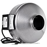 iPower GLFANXINLINE4 4 Inch 190 CFM Inline Duct Ventilation Fan HVAC Exhaust Blower for Grow Tent, Grounded Power Cord, Silver