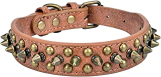 """AOLOVE Mushrooms Spiked Rivet Studded Adjustable Pu Leather Pet Collars for Cats Puppy Dogs (8.2""""-10.6"""" Neck, A Brown)"""