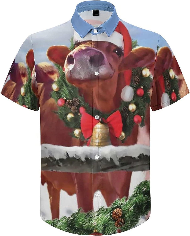 Mens Button Down Shirt Christmas Cow Family Casual Summer Beach Shirts Tops