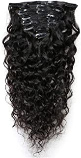 Romantic Angels Deep Curly Clip in Hair Extensions Human Hair 7pcs 80g Natural Black #1b (20 inch)