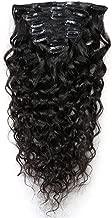 Romantic Angels Deep Curly Clip in Hair Extensions Human Hair 7pcs 80g Natural Black #1b (24 inch)
