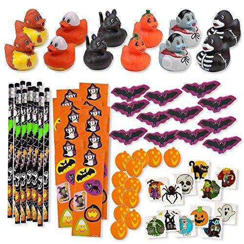 Bulk 156 Halloween Party Favors Treats for Kids Toys Novelty Assortment 12 Ducks 12 Pencils 12 Stickers Sheets 48 Mini Erasers 72 Glitter Tattoos