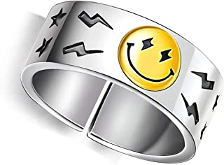 sovesi Smiley Face Ring Wide Chunky Adjustable Vintage Silver Smiling Open Ring for Women Men