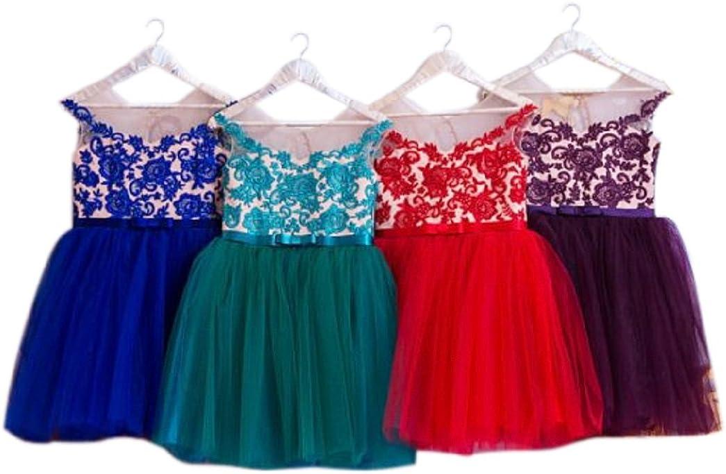 Leyidress Colorful Tulle Girl Dress Flower Girl Dress Formal Kids Dress