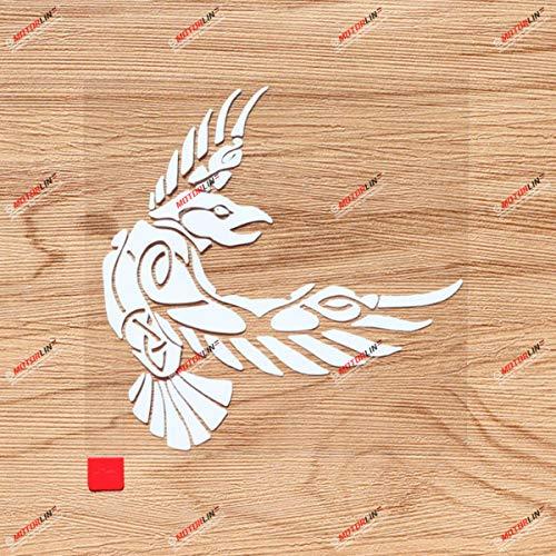 6'' White Odin Raven Decal Sticker Viking Norse Nord Norway Car Vinyl Celtic Knot b