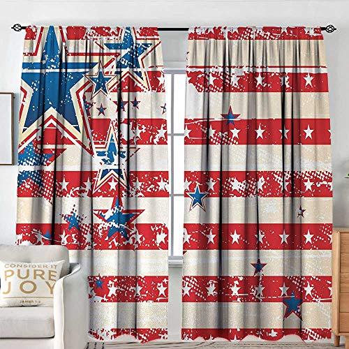 Badkamer Gordijnen Amerikaanse Vlag,Vlag Ronde Bunting Verkiezing Ornament Politieke Unie Lint Event Patroon Print,Blauw Rood, Drapes Thermische geïsoleerde panelen Home decor