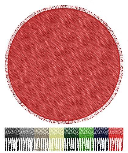 Brandsseller Gartentischdecke Tischdecke - wetterfest und rutschfest für Garten, Balkon und Camping - Rund 160 cm - Farbe: Rot