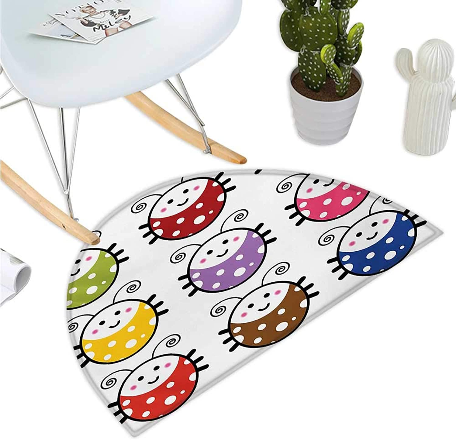 Ladybugs Semicircular Cushion Number of Cute Smiling Ladybugs Illustration in colorful Dot Design Kids Nursery Print Bathroom Mat H 43.3  xD 64.9  Multi