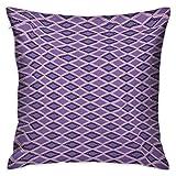 Funda de almohada geométrica cuadrada personalizada Líneas horizontales de chevrón con motivos rectangulares Motivos en zigzag Imagen Morado oscuro Lavanda Fundas de cojín Fundas de almohada para sofá