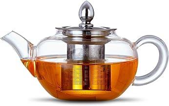 ANSIO Szklany dzbanek do herbaty z zaparzaczem 300 ml borokrzemowej pokrywki ze stali nierdzewnej 304, bezbarwny czajnicze...