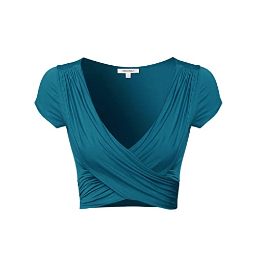 cc779cdf7ced22 Awesome21 Women s Solid V-Neck Crossover Shirred Wrap Front Crop Top